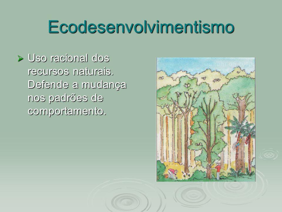 Ecodesenvolvimentismo Uso racional dos recursos naturais. Defende a mudança nos padrões de comportamento.