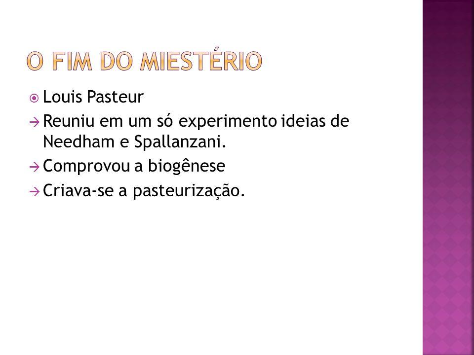 Louis Pasteur Reuniu em um só experimento ideias de Needham e Spallanzani. Comprovou a biogênese Criava-se a pasteurização.