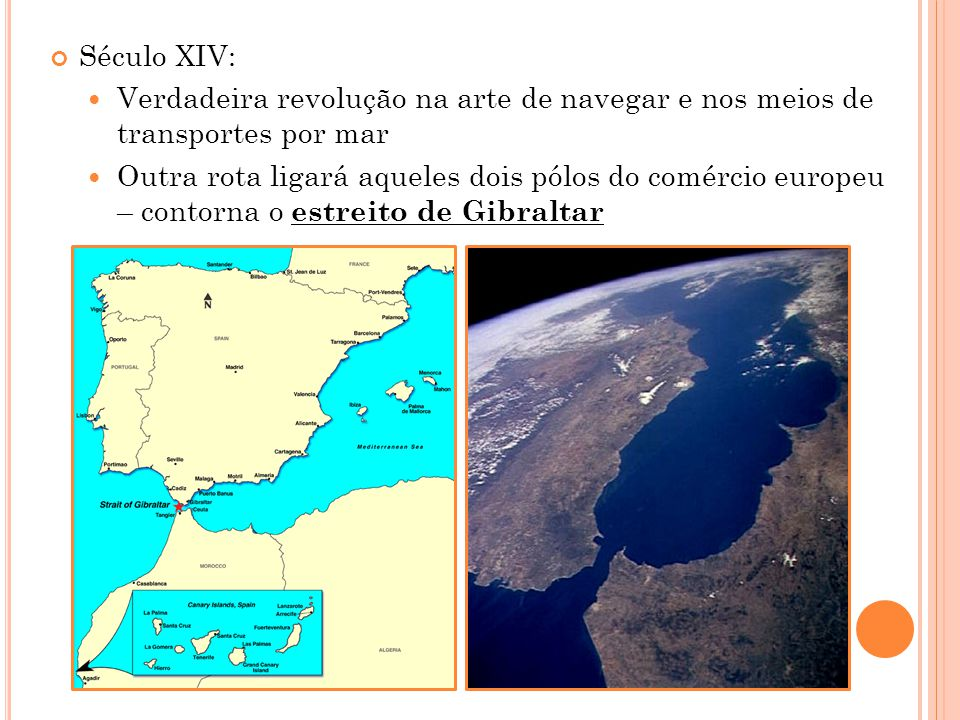 Século XIV: Verdadeira revolução na arte de navegar e nos meios de transportes por mar Outra rota ligará aqueles dois pólos do comércio europeu – contorna o estreito de Gibraltar