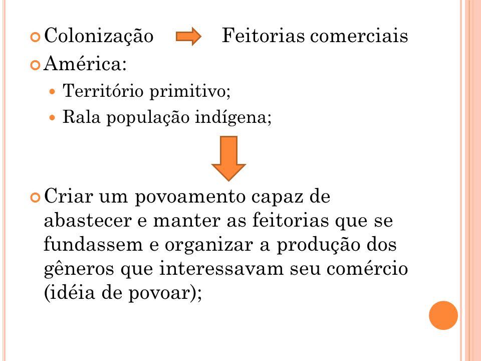 ColonizaçãoFeitorias comerciais América: Território primitivo; Rala população indígena; Criar um povoamento capaz de abastecer e manter as feitorias q