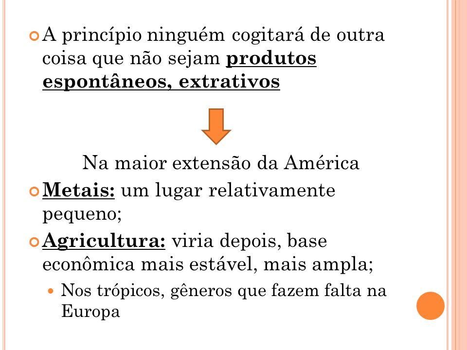 A princípio ninguém cogitará de outra coisa que não sejam produtos espontâneos, extrativos Na maior extensão da América Metais: um lugar relativamente pequeno; Agricultura: viria depois, base econômica mais estável, mais ampla; Nos trópicos, gêneros que fazem falta na Europa