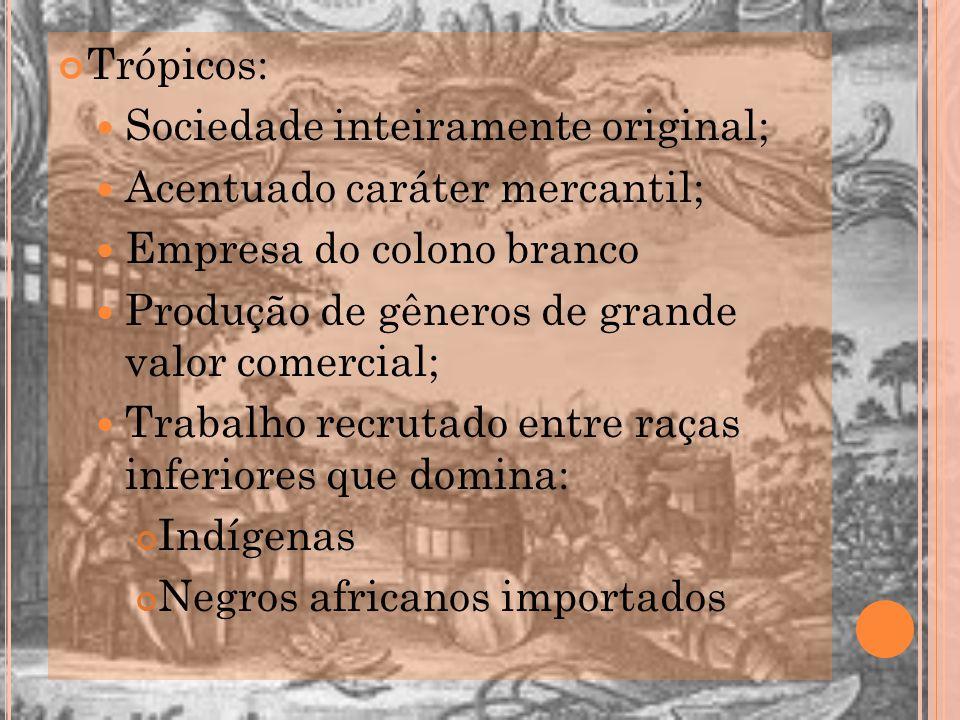 Trópicos: Sociedade inteiramente original; Acentuado caráter mercantil; Empresa do colono branco Produção de gêneros de grande valor comercial; Trabal