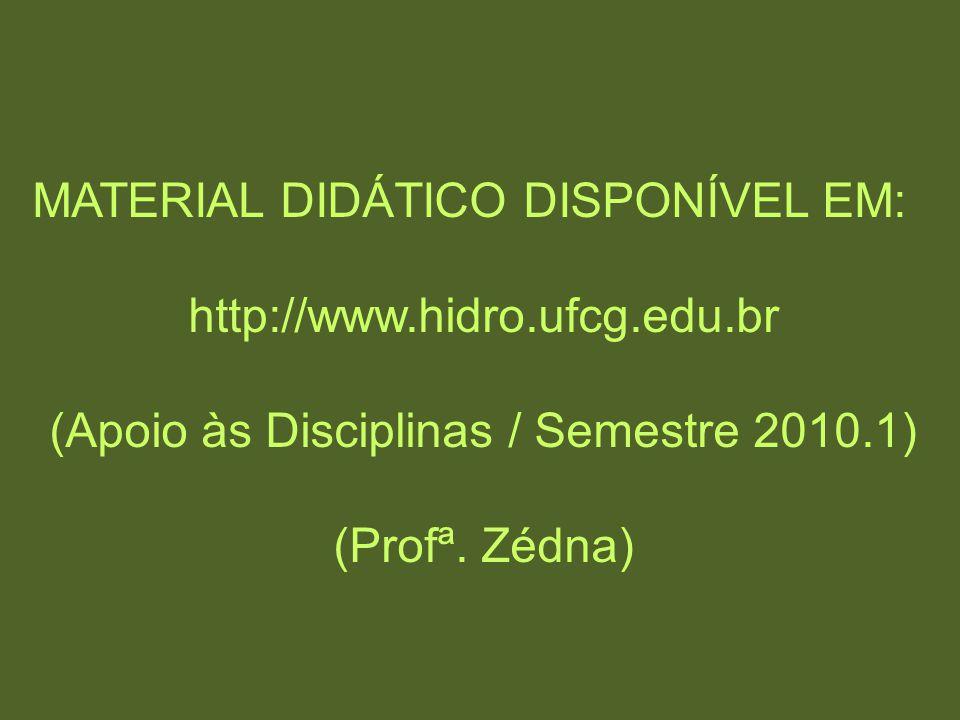 MATERIAL DIDÁTICO DISPONÍVEL EM: http://www.hidro.ufcg.edu.br (Apoio às Disciplinas / Semestre 2010.1) (Profª. Zédna)