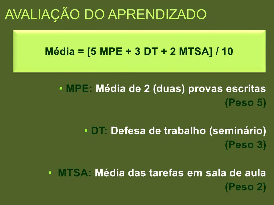 AVALIAÇÃO DO APRENDIZADO MPE: Média de 2 (duas) provas escritas (Peso 5) DT: Defesa de trabalho (seminário) (Peso 3) MTSA: Média das tarefas em sala d