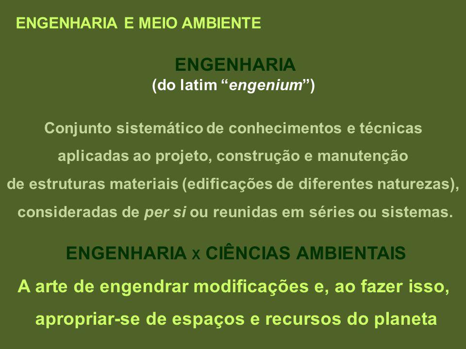 ENGENHARIA E MEIO AMBIENTE ENGENHARIA (do latim engenium) Conjunto sistemático de conhecimentos e técnicas aplicadas ao projeto, construção e manutenç