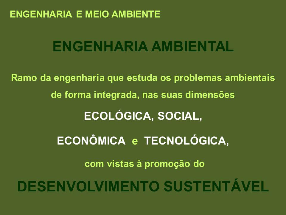 ENGENHARIA AMBIENTAL Ramo da engenharia que estuda os problemas ambientais de forma integrada, nas suas dimensões ECOLÓGICA, SOCIAL, ECONÔMICA e TECNO