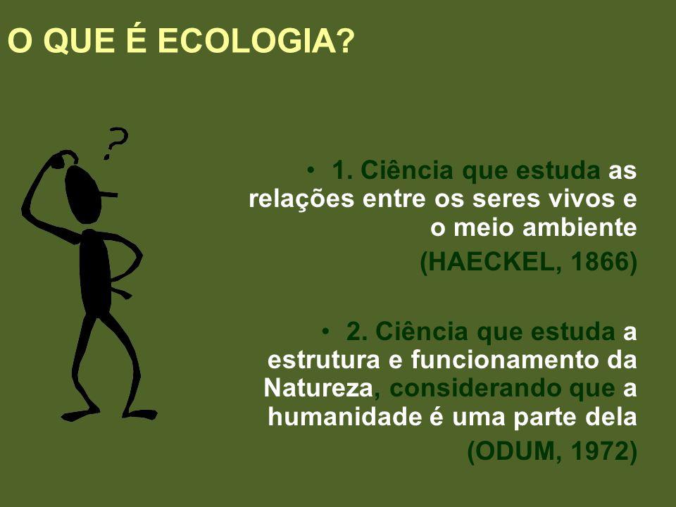 O QUE É ECOLOGIA? 1. Ciência que estuda as relações entre os seres vivos e o meio ambiente (HAECKEL, 1866) 2. Ciência que estuda a estrutura e funcion