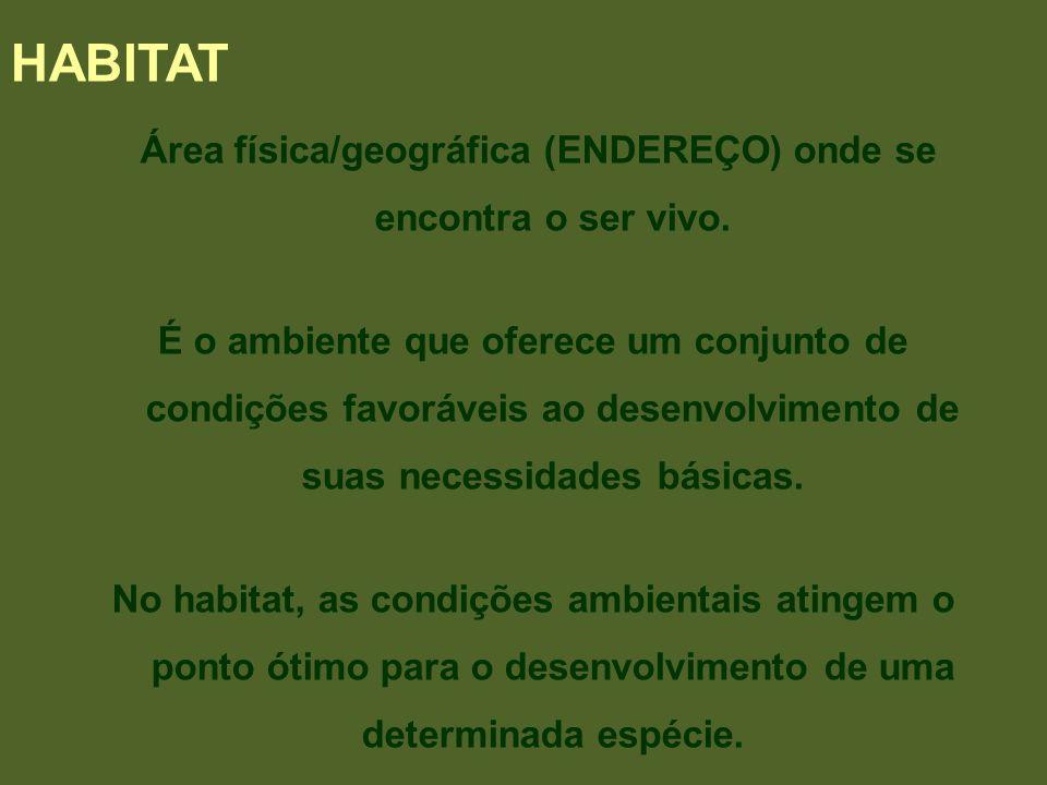 Área física/geográfica (ENDEREÇO) onde se encontra o ser vivo. É o ambiente que oferece um conjunto de condições favoráveis ao desenvolvimento de suas