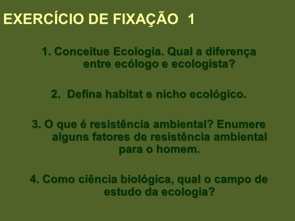 EXERCÍCIO DE FIXAÇÃO 1 1. Conceitue Ecologia. Qual a diferença entre ecólogo e ecologista? 2. Defina habitat e nicho ecológico. 3. O que é resistência