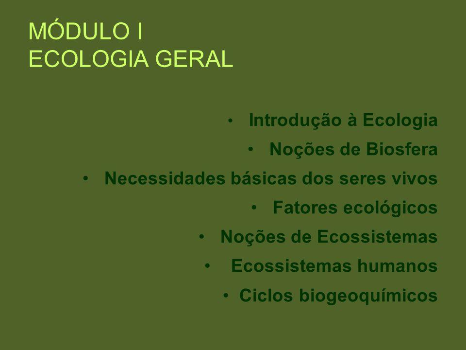 MÓDULO I ECOLOGIA GERAL Introdução à Ecologia Noções de Biosfera Necessidades básicas dos seres vivos Fatores ecológicos Noções de Ecossistemas Ecossi