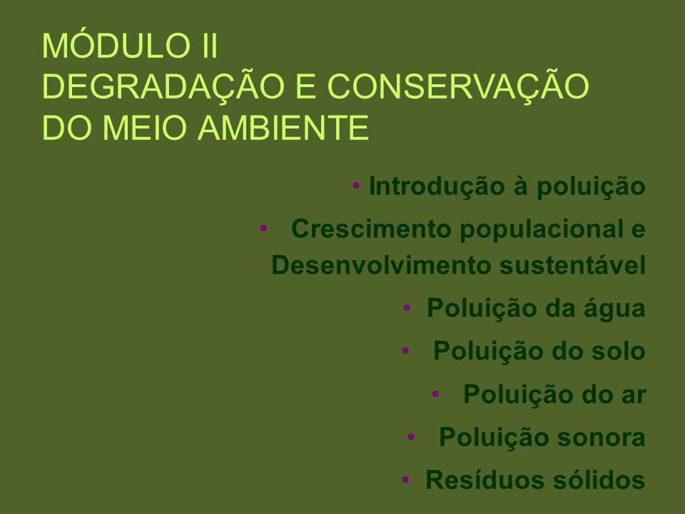 MÓDULO II DEGRADAÇÃO E CONSERVAÇÃO DO MEIO AMBIENTE Introdução à poluição Crescimento populacional e Desenvolvimento sustentável Poluição da água Polu