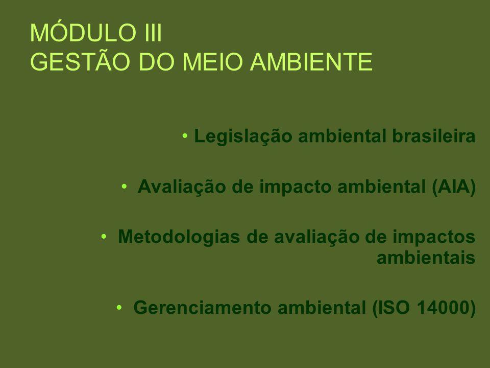 MÓDULO III GESTÃO DO MEIO AMBIENTE Legislação ambiental brasileira Avaliação de impacto ambiental (AIA) Metodologias de avaliação de impactos ambienta