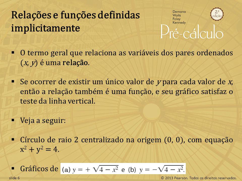 © 2013 Pearson. Todos os direitos reservados.slide 6 Relações e funções definidas implicitamente O termo geral que relaciona as variáveis dos pares or