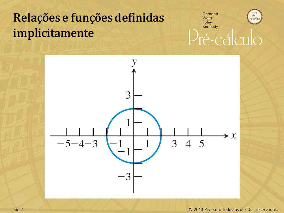 © 2013 Pearson. Todos os direitos reservados.slide 7 Relações e funções definidas implicitamente