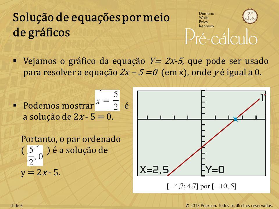 © 2013 Pearson. Todos os direitos reservados.slide 6 Solução de equações por meio de gráficos Vejamos o gráfico da equação Y= 2x-5, que pode ser usado