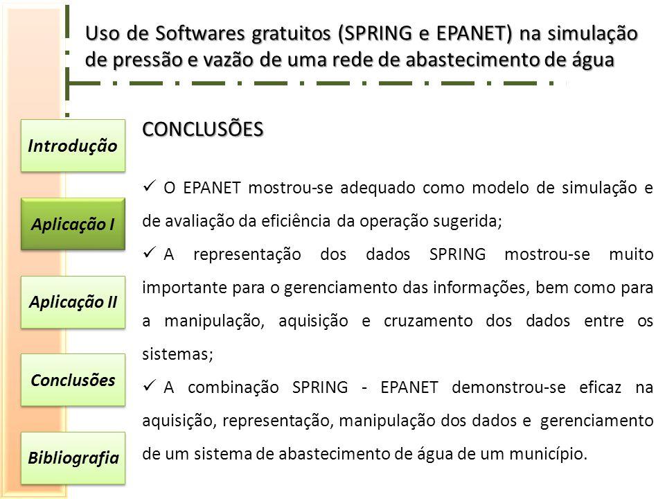 Introdução Aplicação I Aplicação II Conclusões Bibliografia CONCLUSÕES O EPANET mostrou-se adequado como modelo de simulação e de avaliação da eficiência da operação sugerida; A representação dos dados SPRING mostrou-se muito importante para o gerenciamento das informações, bem como para a manipulação, aquisição e cruzamento dos dados entre os sistemas; A combinação SPRING - EPANET demonstrou-se eficaz na aquisição, representação, manipulação dos dados e gerenciamento de um sistema de abastecimento de água de um município.