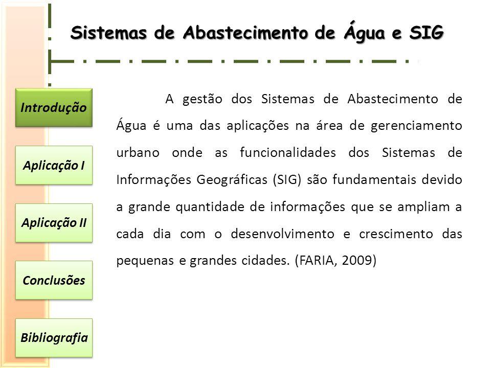 Introdução Aplicação I Aplicação II Conclusões Bibliografia Sistemas de Abastecimento de Água e SIG A gestão dos Sistemas de Abastecimento de Água é u