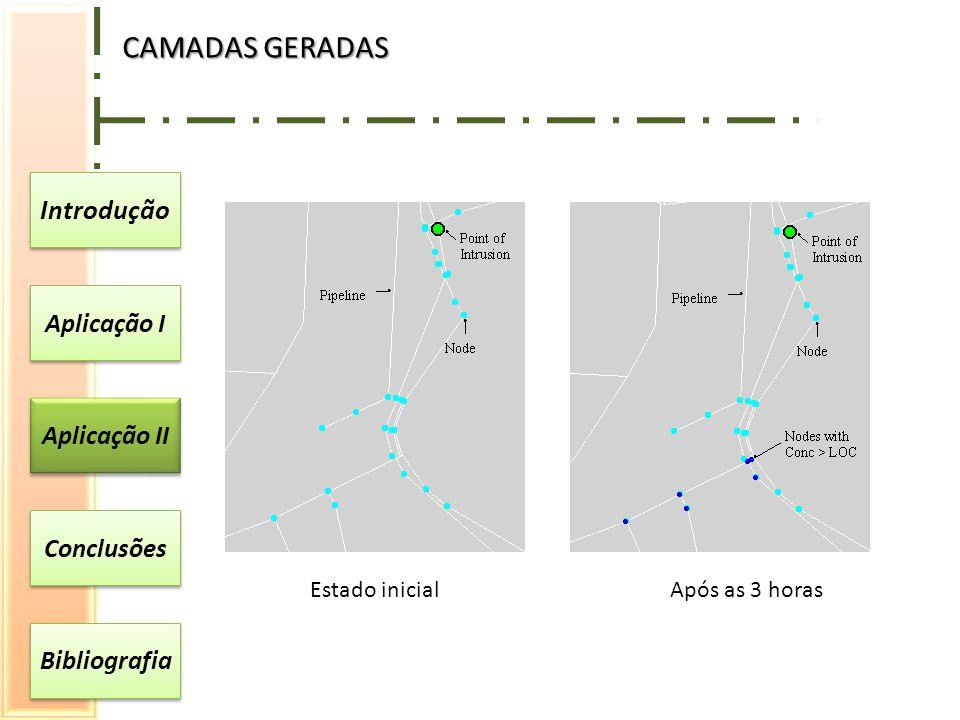 Introdução Aplicação I Aplicação II Conclusões Bibliografia CAMADAS GERADAS Estado inicialApós as 3 horas