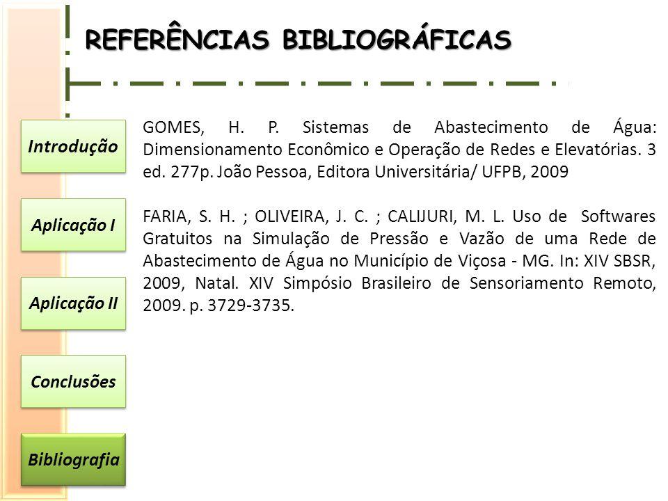 Introdução Aplicação I Aplicação II Conclusões Bibliografia GOMES, H. P. Sistemas de Abastecimento de Água: Dimensionamento Econômico e Operação de Re