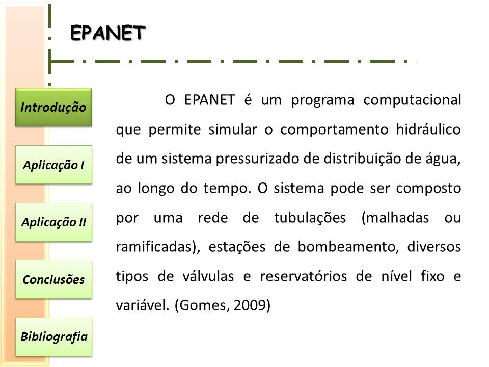 Introdução Aplicação I Aplicação II Conclusões Bibliografia EPANET O EPANET é um programa computacional que permite simular o comportamento hidráulico de um sistema pressurizado de distribuição de água, ao longo do tempo.
