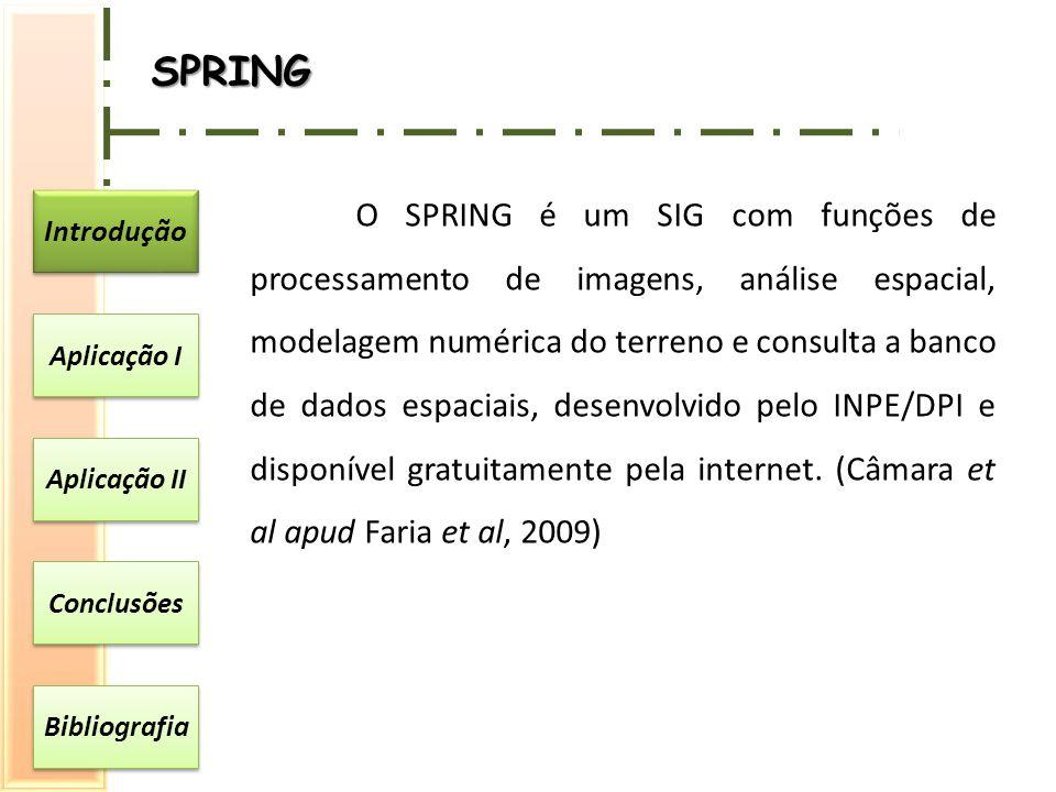 Introdução Aplicação I Aplicação II Conclusões Bibliografia SPRING O SPRING é um SIG com funções de processamento de imagens, análise espacial, modela