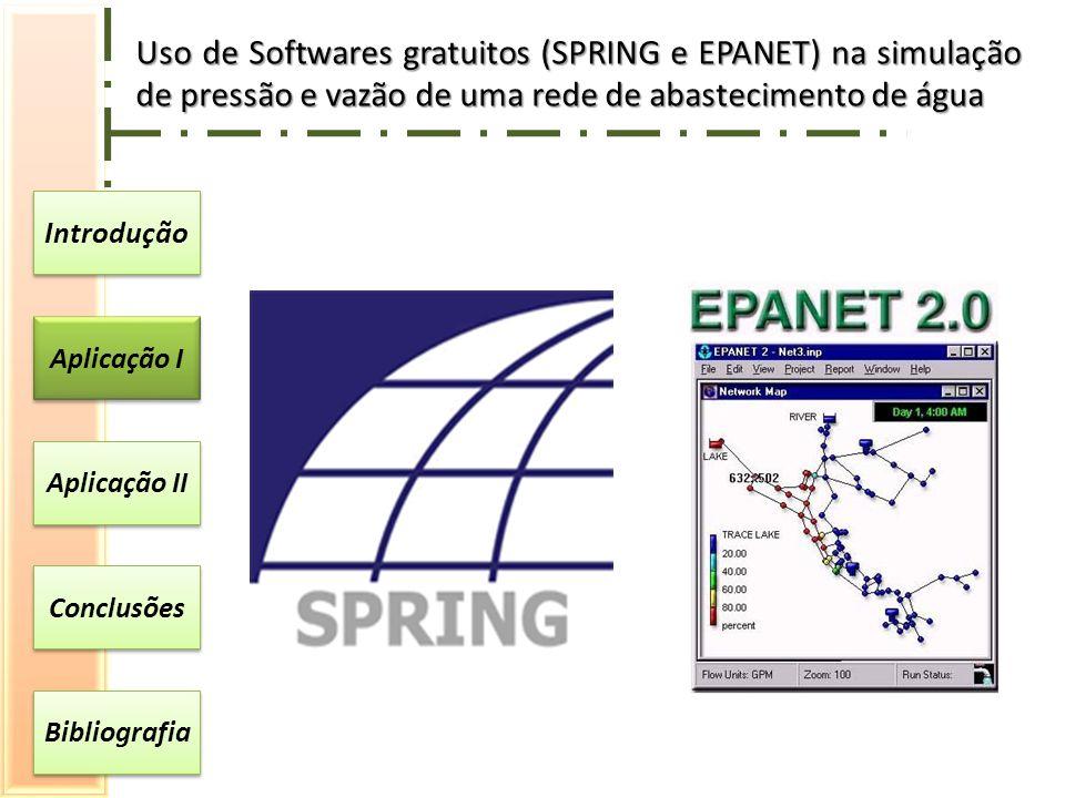 Introdução Aplicação I Aplicação II Conclusões Bibliografia Uso de Softwares gratuitos (SPRING e EPANET) na simulação de pressão e vazão de uma rede de abastecimento de água
