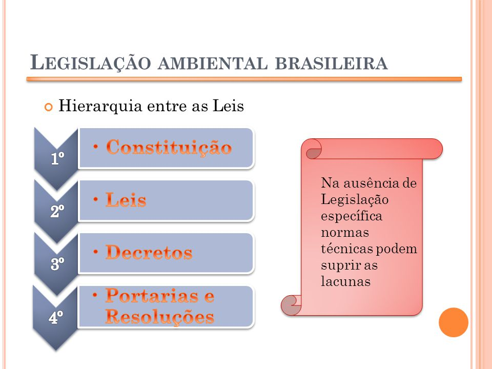 L EGISLAÇÃO AMBIENTAL BRASILEIRA Hierarquia entre as Leis Na ausência de Legislação específica normas técnicas podem suprir as lacunas