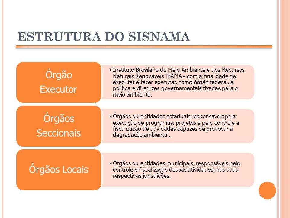 ESTRUTURA DO SISNAMA Instituto Brasileiro do Meio Ambiente e dos Recursos Naturais Renováveis IBAMA - com a finalidade de executar e fazer executar, c
