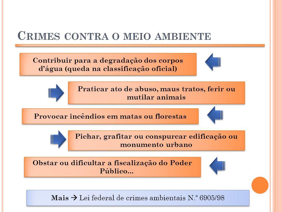 C RIMES CONTRA O MEIO AMBIENTE Contribuir para a degradação dos corpos dágua (queda na classificação oficial) Praticar ato de abuso, maus tratos, feri