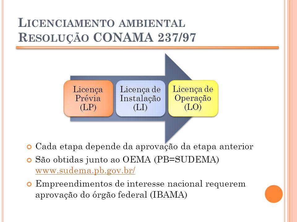 L ICENCIAMENTO AMBIENTAL R ESOLUÇÃO CONAMA 237/97 Cada etapa depende da aprovação da etapa anterior São obtidas junto ao OEMA (PB=SUDEMA) www.sudema.p