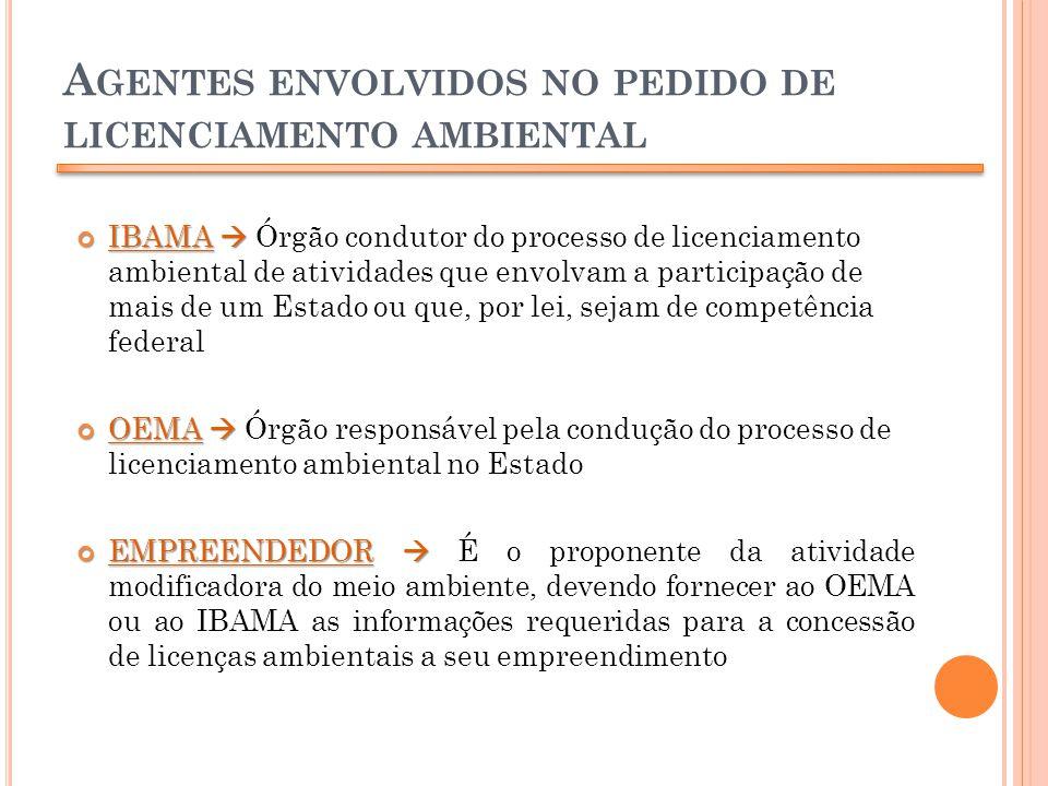 A GENTES ENVOLVIDOS NO PEDIDO DE LICENCIAMENTO AMBIENTAL IBAMA IBAMA Órgão condutor do processo de licenciamento ambiental de atividades que envolvam