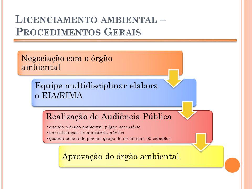 L ICENCIAMENTO AMBIENTAL – P ROCEDIMENTOS G ERAIS Negociação com o órgão ambiental Equipe multidisciplinar elabora o EIA/RIMA Realização de Audiência