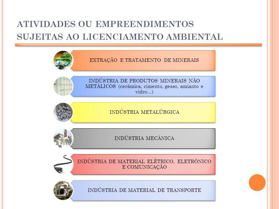 ATIVIDADES OU EMPREENDIMENTOS SUJEITAS AO LICENCIAMENTO AMBIENTAL EXTRAÇÃO E TRATAMENTO DE MINERAIS INDÚSTRIA DE PRODUTOS MINERAIS NÃO METÁLICOS (cerâ