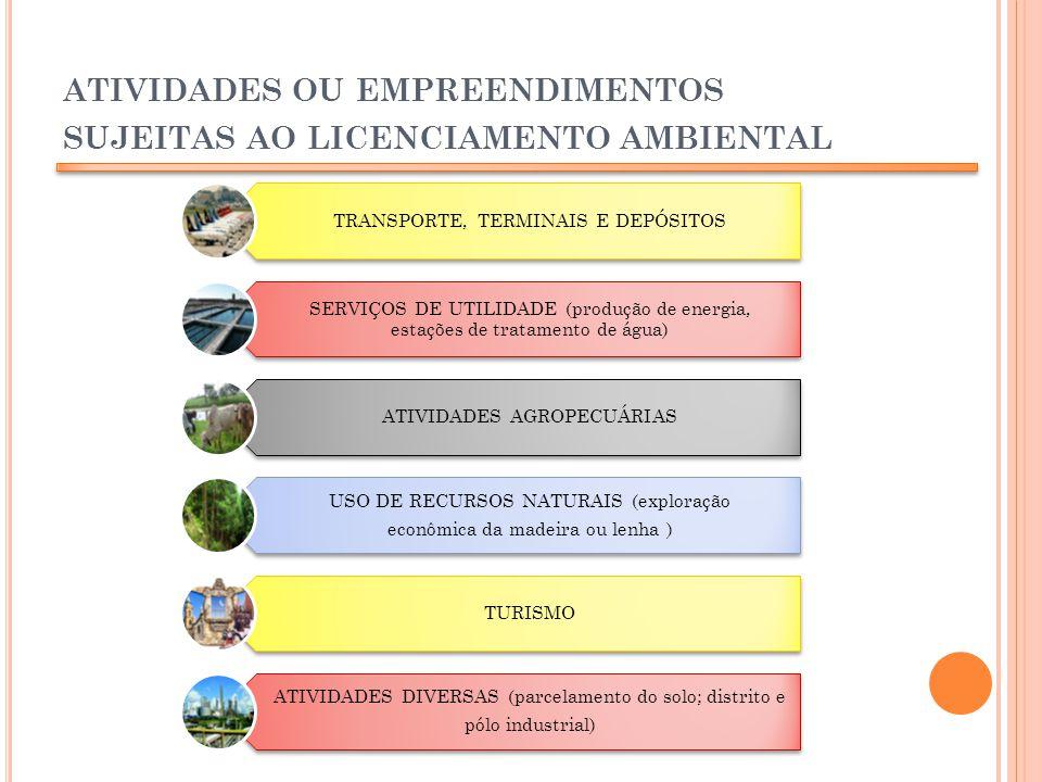 ATIVIDADES OU EMPREENDIMENTOS SUJEITAS AO LICENCIAMENTO AMBIENTAL TRANSPORTE, TERMINAIS E DEPÓSITOS SERVIÇOS DE UTILIDADE (produção de energia, estaçõ