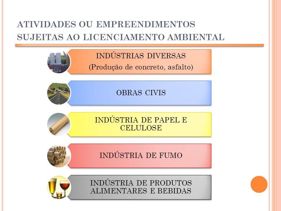 ATIVIDADES OU EMPREENDIMENTOS SUJEITAS AO LICENCIAMENTO AMBIENTAL INDÚSTRIAS DIVERSAS (Produção de concreto, asfalto) OBRAS CIVIS INDÚSTRIA DE PAPEL E