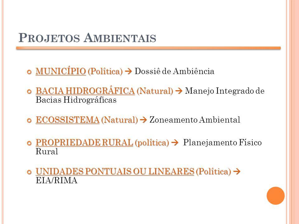 P ROJETOS A MBIENTAIS MUNICÍPIO (Política) MUNICÍPIO (Política) Dossiê de Ambiência BACIA HIDROGRÁFICA (Natural) BACIA HIDROGRÁFICA (Natural) Manejo I