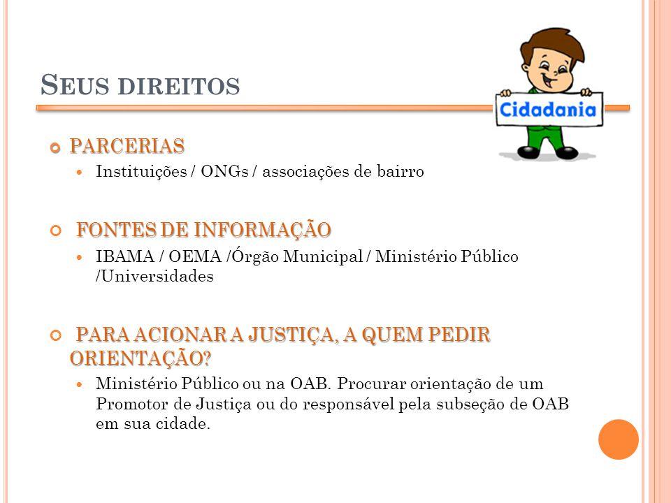 S EUS DIREITOS PARCERIAS PARCERIAS Instituições / ONGs / associações de bairro FONTES DE INFORMAÇÃO IBAMA / OEMA /Órgão Municipal / Ministério Público