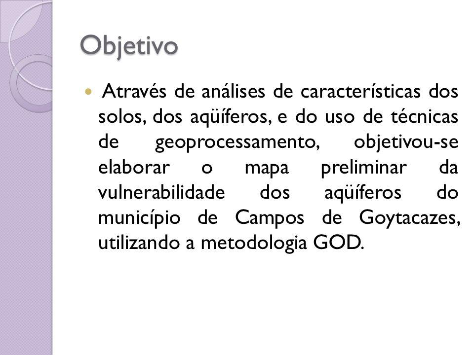 Objetivo Através de análises de características dos solos, dos aqüíferos, e do uso de técnicas de geoprocessamento, objetivou-se elaborar o mapa preli