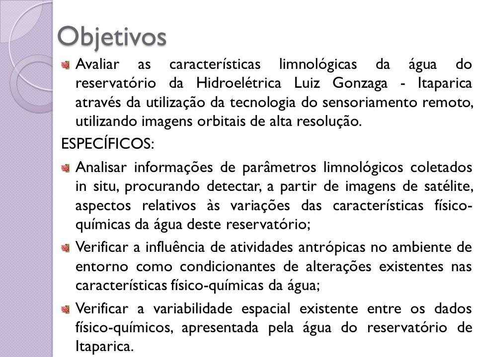 Objetivos Avaliar as características limnológicas da água do reservatório da Hidroelétrica Luiz Gonzaga - Itaparica através da utilização da tecnologi