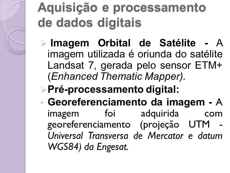 Aquisição e processamento de dados digitais Imagem Orbital de Satélite - A imagem utilizada é oriunda do satélite Landsat 7, gerada pelo sensor ETM+ (