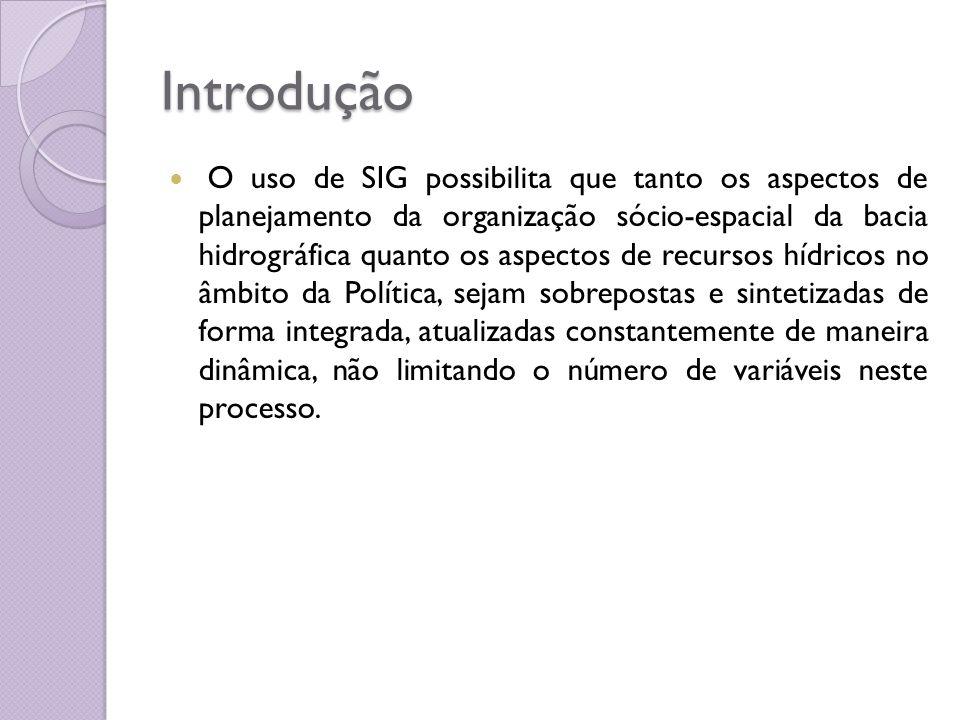 Introdução O uso de SIG possibilita que tanto os aspectos de planejamento da organização sócio-espacial da bacia hidrográfica quanto os aspectos de re