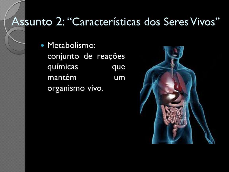 Assunto 2: Características dos Seres Vivos Metabolismo: conjunto de reações químicas que mantém um organismo vivo.