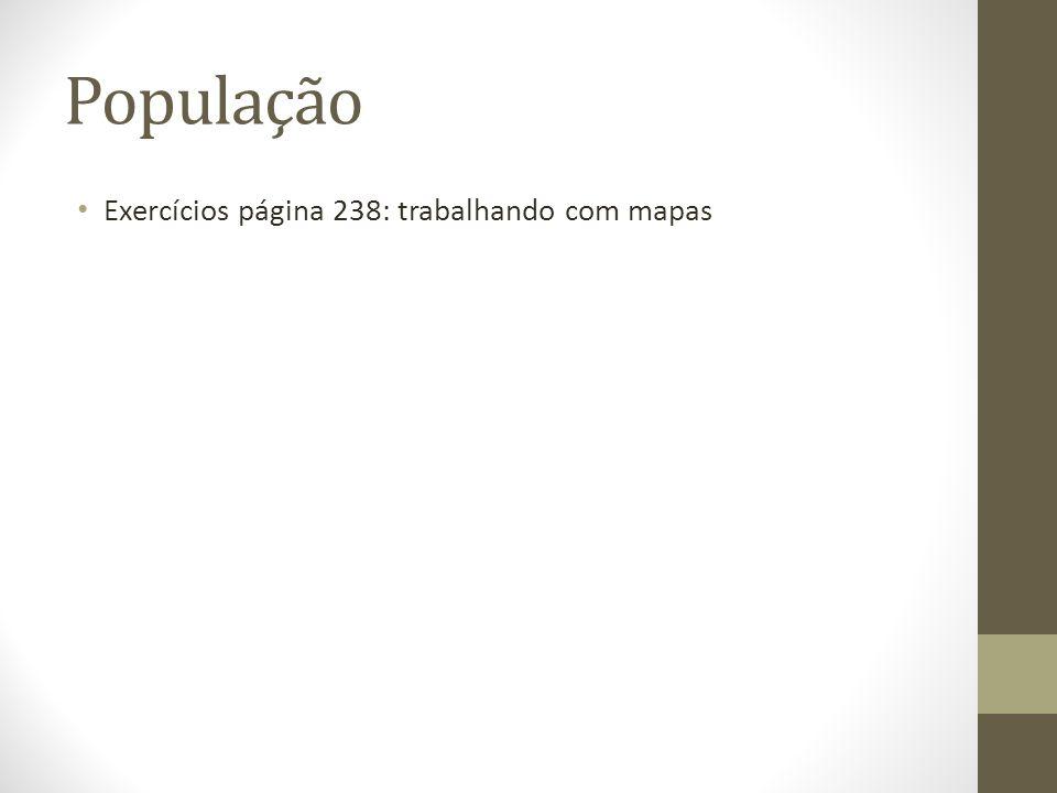 População Exercícios página 238: trabalhando com mapas