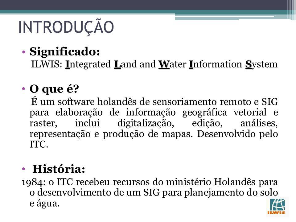 INTRODUÇÃO Significado: ILWIS ILWIS: Integrated Land and Water Information System O que é.