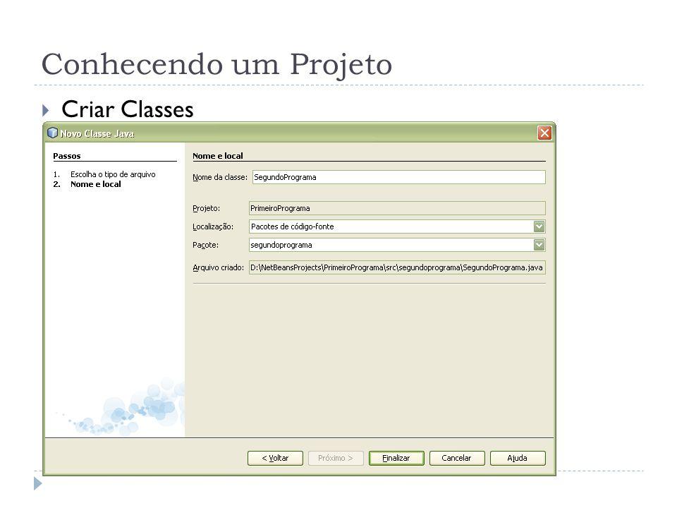 Conhecendo um Projeto Criar Classes