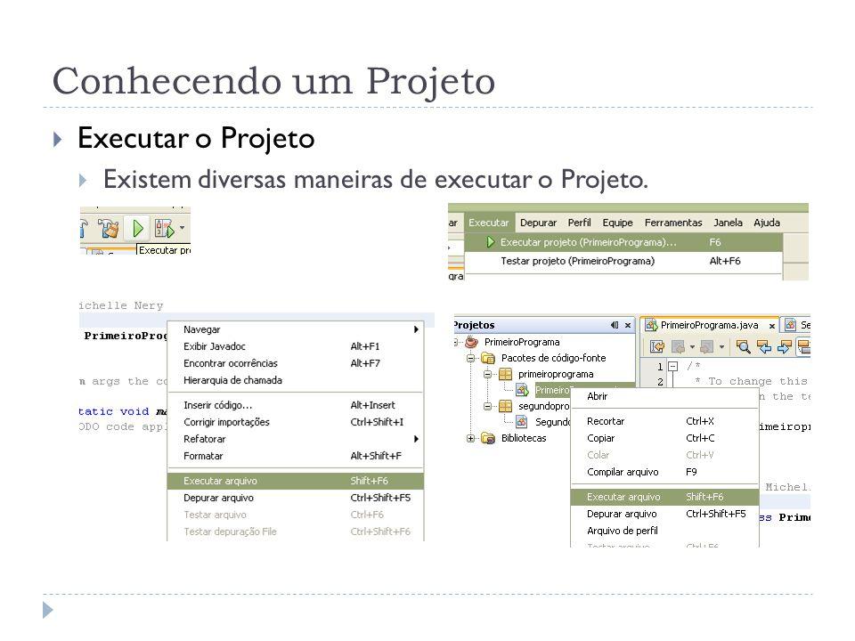 Conhecendo um Projeto Executar o Projeto Existem diversas maneiras de executar o Projeto.
