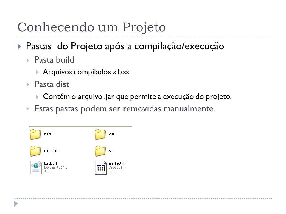 Conhecendo um Projeto Pastas do Projeto após a compilação/execução Pasta build Arquivos compilados.class Pasta dist Contém o arquivo.jar que permite a execução do projeto.