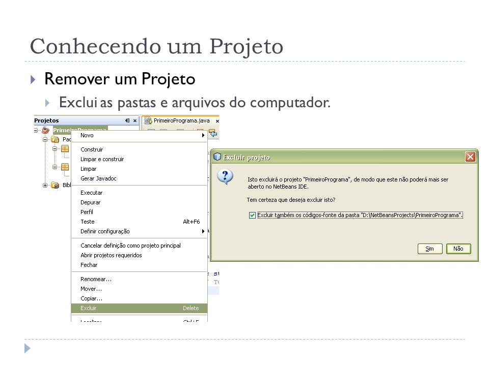 Conhecendo um Projeto Remover um Projeto Exclui as pastas e arquivos do computador.
