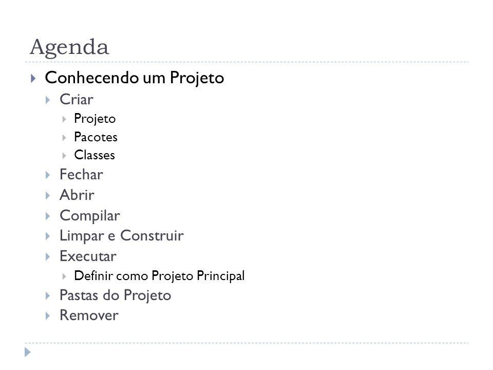 Agenda Conhecendo um Projeto Criar Projeto Pacotes Classes Fechar Abrir Compilar Limpar e Construir Executar Definir como Projeto Principal Pastas do Projeto Remover