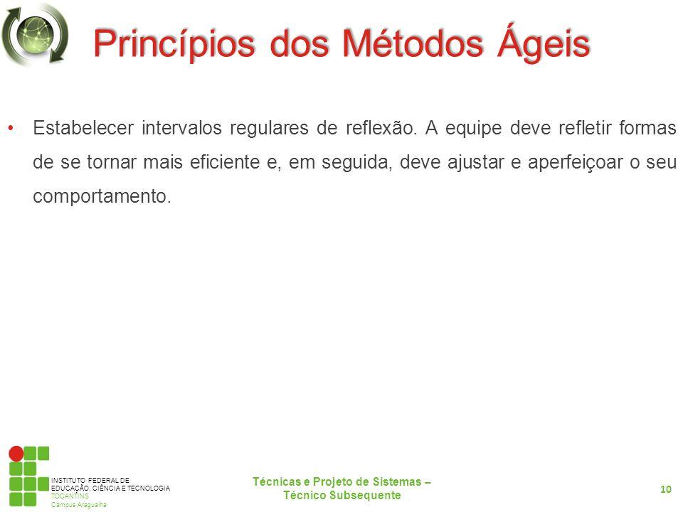 INSTITUTO FEDERAL DE EDUCAÇÃO, CIÊNCIA E TECNOLOGIA TOCANTINS Campus Araguaína Princípios dos Métodos Ágeis Estabelecer intervalos regulares de reflexão.